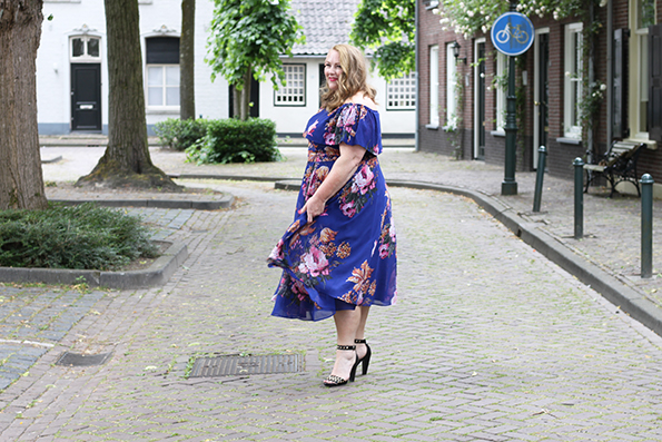 Purple bardot swing dress Asos Curve 12
