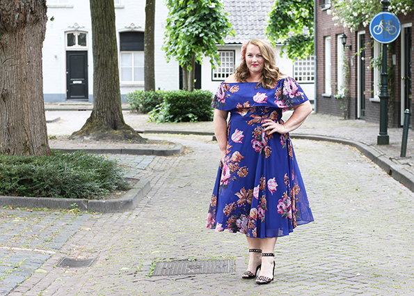 Purple bardot swing dress Asos Curve 2
