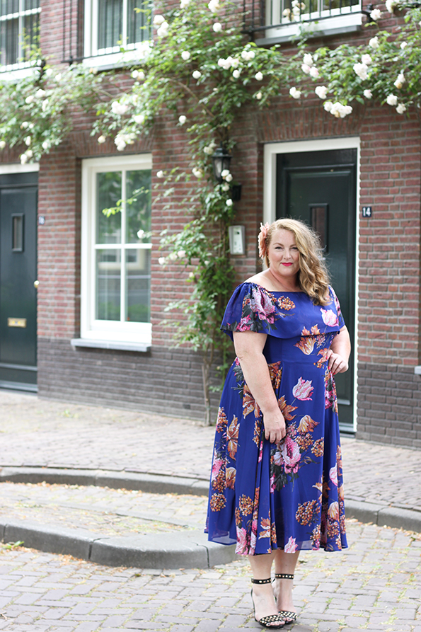 Purple bardot swing dress Asos Curve 5