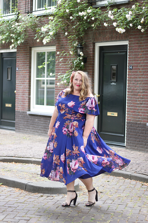 Purple bardot swing dress Asos Curve 7