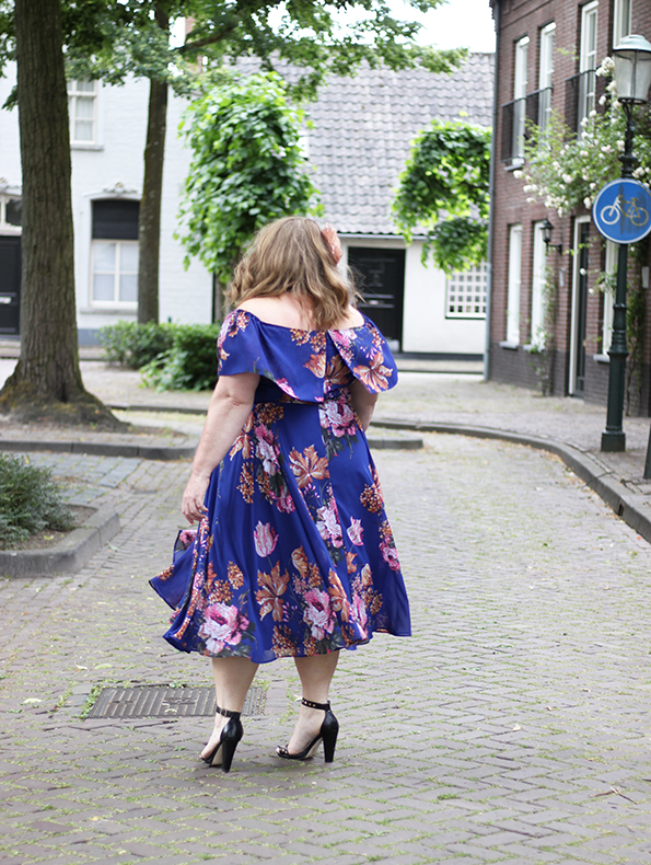 Purple bardot swing dress Asos Curve 8