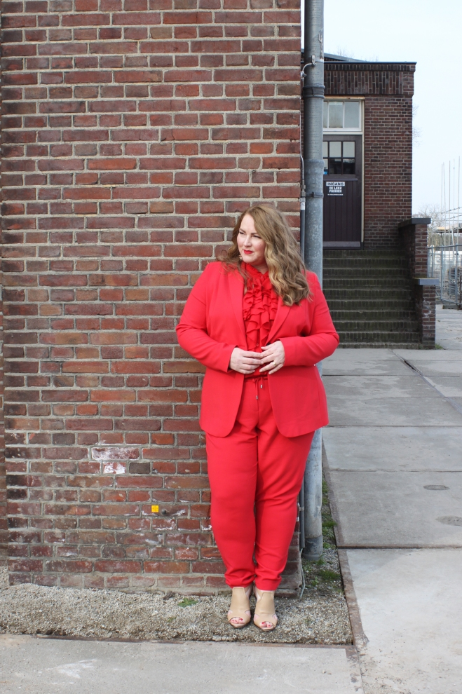 Belloya Plussize Fashion Curvy Grote maten Red Suit 13