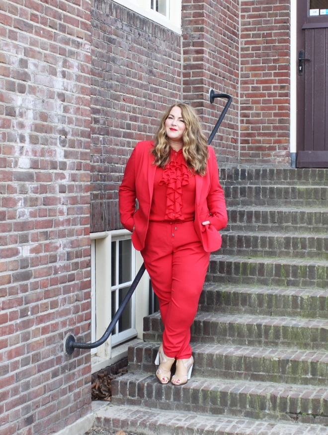 Belloya Plussize Fashion Curvy Grote maten Red Suit 15